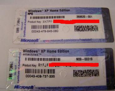 Windows Xp serialnumbers